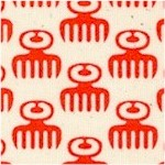 Akoma - African Duafe (Comb) Symbol in Red on Cream