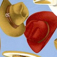 Western Style - Tossed Cowboy Hats on Blue