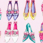 Ruru Marie - Vintage Shoes in Rows on Pink