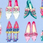 Ruru Marie - Vintage Shoes in Rows on Periwinkle