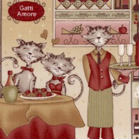 Cats Amore - Whimsical Italian Cat Collage by Paws for Thought