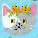 Whiskers and Tails - Whimsical Cat Faces in Rows