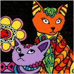 Cats Coloring on Black