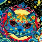 Colorful Sugar Skull Cats on Black