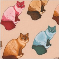 Home Sweet Home - Colorful Cats on Beige by Dan Morris