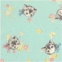 Dear Little World - Vintage Cats on Green