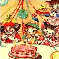 Ruth E's Party - Puppy and Kitten Party Panel by Ruth E. Newton - SOLD BY THE PANEL ONLY