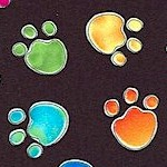 Tossed Bright Pawprints on Black