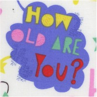 How Old Are You? Tossed Birthday Expressions on Ivory