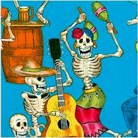 Fiesta de los Muertos - Day of the Dead on Turquoise