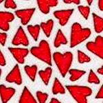Petite Red Hearts on White FLANNEL
