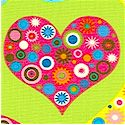All My Heart - Patterned Hearts on Lime by Amy Schimler - SALE! (ONE YARD MINIMUM PURCHASE)