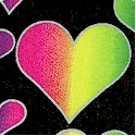 Rainbow Hearts with Metallic Silver Outline on Black