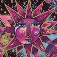 Celestial Magic - Gilded Celestial Collage on Black by Laurel Burch