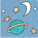 Planets - Tossed Moons  Stars and Planets on Blue FLANNEL