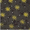 Surf 'n Safari - Gold Suns on Mottled Black - LTD. YARDAGE AVAILABLE