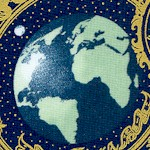 Celestial Collection - Gilded Galaxy Collage on Navy Blue