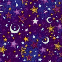 Enchanted Kingdom - Gilded Moons and Stars on Purple by Dan Morris
