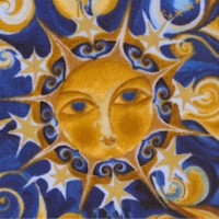 Celestial Dreams - Gilded Moons, Suns and Stars on Blue