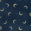 Moon and Stars - Tossed Crescent Moons on Navy