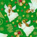 Gilded Season's Greetings Angels on Green