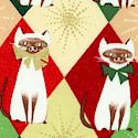Chloe's Christmas - Gilded Cats on Christmas Argyle - LTD. YARDAGE AVAILABLE