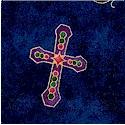 Tossed Gilded Christian Symbols and Doves on Mottled Blue