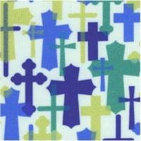 Psalms - Colorful Crosses on White by Cindy Sepp