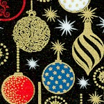 Enchanted Christmas - Elegant Gilded Ornaments on Black