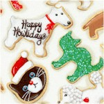 Holly Jolly - Tossed Holiday Cat and Dog Cookies on Ivory (Digital) by Mary Lake Thompson