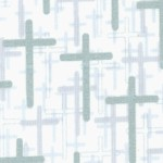 Faith  Hope and Love - Metallic Silver Crosses on Ivory