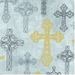 A Beautiful Place - Gilded Ornate Crosses on Gray