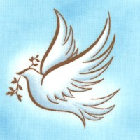 Our Father - Tossed Peace Doves on Blue