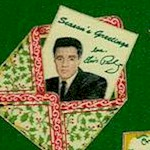Gilded Holiday Elvis Greeting Cards on Green - LTD. YARDAGE AVAILABLE