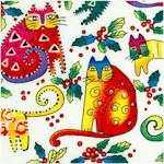 Enchantment - Tossed Christmas Cats on White by Laurel Burch Inspirations