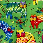 Enchantment - Tossed Christmas Cats on Green by Laurel Burch Inspirations