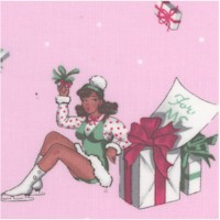 For You - Retro Holiday Pinups Bearing Gifts on Pink