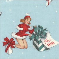 For You - Retro Holiday Pinups Bearing Gifts on Blue