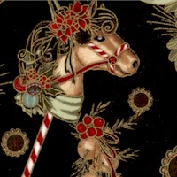 Dashing All the Way - Gilded Hobby Horses on Black by Nicole Tamarin