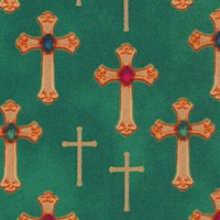 Three Kings - Gilded and Bejeweled Crosses on Green