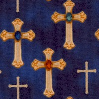 Three Kings - Gilded and Bejeweled Crosses on Navy Blue