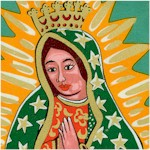 Los Sanctos - Our Lady of Guadalupe Gilded Virgin Portraits by Terrie Mangat #3