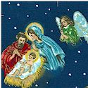 Gilded Nativity Scenes on Blue