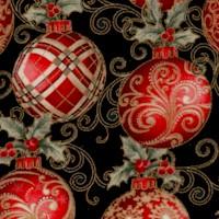 Winter Elegance - Gilded Elegant Ornaments on Black