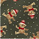 Paper Doll Christmas - Small Scale Tossed Teddy Bears on Green