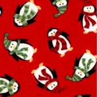 Mini Christmas - Tossed Penguins on Red