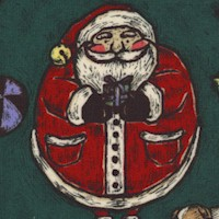 XMas Time - Woodcut Santa on Green
