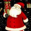 Santa's Gifts - Tossed Santas  Trees and Reindeer on Black by Debbie Mumm