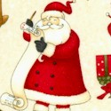 Santa's Gifts - Tossed Santas  Trees and Reindeer by Debbie Mumm (CH-santa-U545)