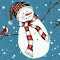 Fresh Fallen Snow - Tossed Snowmen on Blue- LTD. YARDAGE AVAILABLE